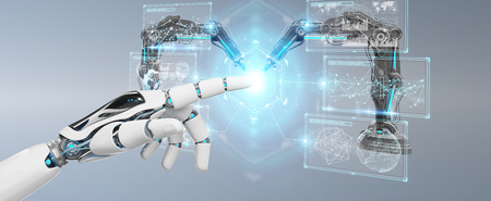 White robot hand on blurred background using robotics arms with digital screen 3D rendering 免版税图像
