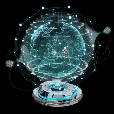 Globe network hologram projector with digital connection on dark background 3D rendering