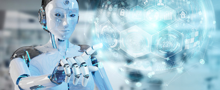 Cyborg de femme blanche sur fond flou à l'aide du rendu 3D de l'interface graphique numérique Banque d'images