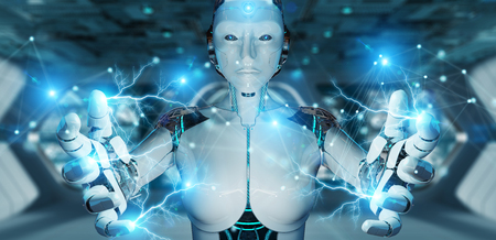 White woman robot on blurred background using digital network connection 3D rendering