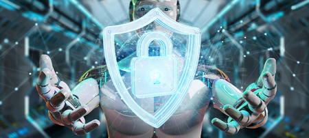 White man humanoid on blurred background using web security 3D rendering