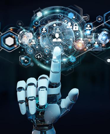 White robot hand on blurred background using digital screen interface 3D rendering 免版税图像