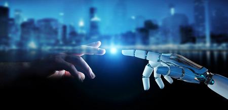 Doigt de cyborg blanc sur le point de toucher le doigt humain sur le rendu 3D de fond de ville Banque d'images