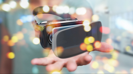 Businesswoman on blurred background using virtual reality glasses technology 3D rendering Stock Photo