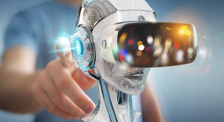Businessman on blurred background using virtual reality and artificial intelligence 3D rendering