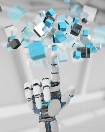 White cyborg hand on blurred background using blue digital cube structure 3D rendering Stock Photo