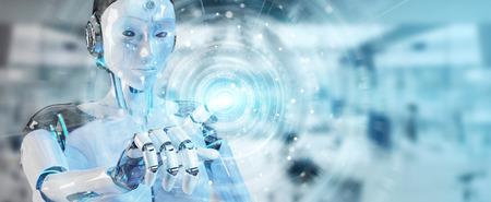 White woman humanoid on blurred background using digital global network 3D rendering