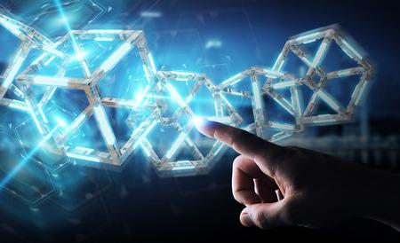 Businessman on blurred background using digital blue Blockchain 3D rendering