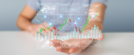 Geschäftsmann auf unscharfem Hintergrund unter Verwendung von 3D-Rendering-Börsendaten und -diagrammen