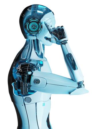 Cyborg mâle blanc pensant et touchant sa tête isolé sur fond blanc rendu 3D Banque d'images
