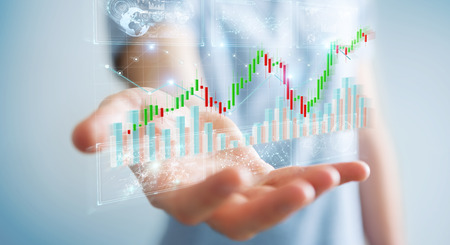 Businessman on blurred background using 3D rendering stock exchange datas and charts