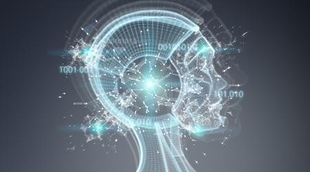 Interface cyborg de l'intelligence artificielle numérique isolée sur fond gris rendu 3D