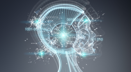 Interfaz cyborg de inteligencia artificial digital aislada sobre fondo gris renderizado 3D