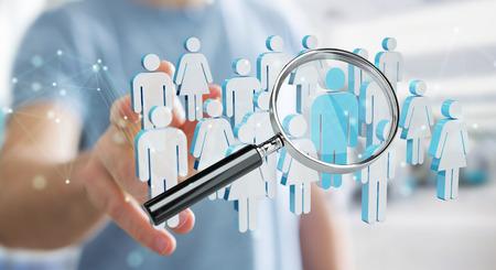 Hombre de negocios en borrosa con lupa para reclutar personas render 3d