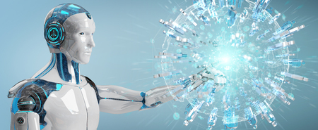 White male robot on blurred background using digital globe to connect people 3D rendering