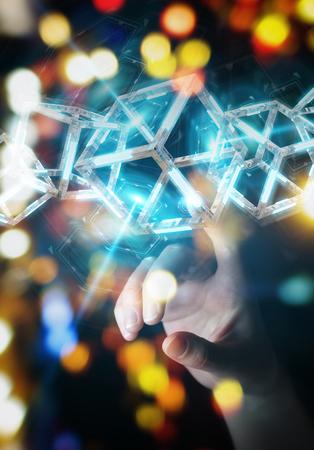 Businesswoman on blurred background using digital blue Blockchain 3D rendering