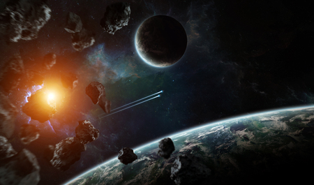 Distant planet system in space with exoplanets during sunrise 3D rendering Foto de archivo