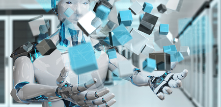 White cyborg on blurred background using blue digital cube structure 3D rendering