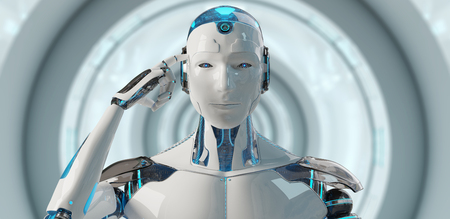White male cyborg thinking and touching his head on spaceship  background 3D rendering Stock Photo