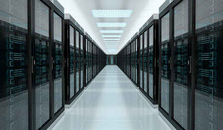 Bright server room data center storage interior 3D rendering Stockfoto