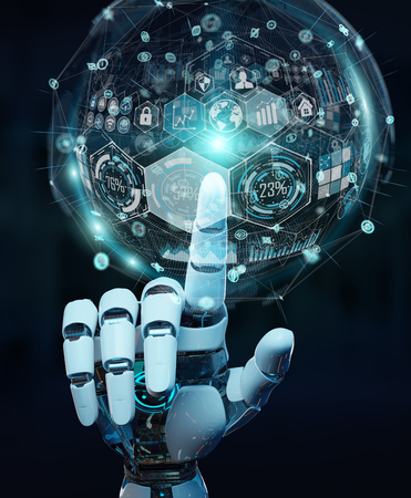 White cyborg hand on blurred background using digital chart interface 3D rendering Banque d'images