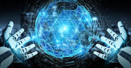 White robot hand on blurred background using digital triangle exploding sphere hologram 3D rendering