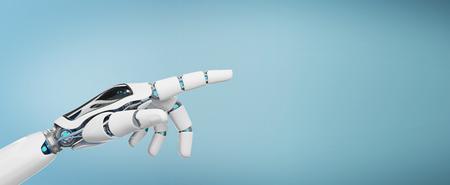 Cyborg blanc pointant son doigt isolé sur fond bleu rendu 3D Banque d'images