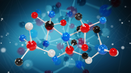 Modern digital molecule structure isolated on blue background 3D rendering Stock Photo