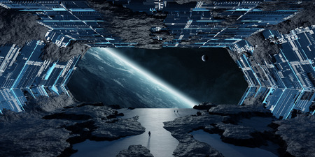 Enorme nave espacial de asteroide azulado renderizado 3D interior Foto de archivo
