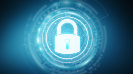 Padlock security interface protecting datas isolated on blue background 3D rendering