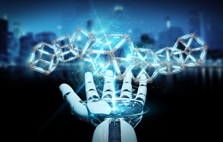 White robot hand on blurred background creating future technology structure 3D rendering Archivio Fotografico