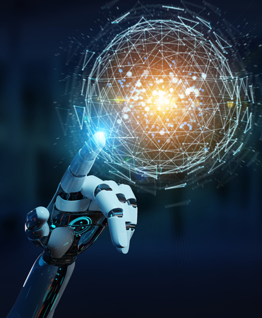 White robot hand on blurred background using digital triangle exploding sphere hologram 3D rendering