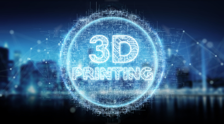 3D printing digital text hologram on blue city background 3D rendering Stock Photo