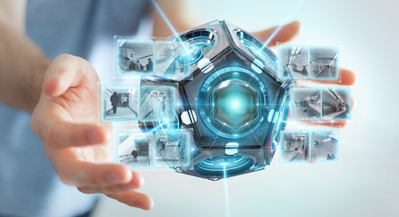 Hombre de negocios en el fondo borroso usando la representación 3d de la cámara de seguridad del drone futurista