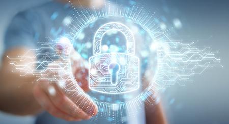 Hombre de negocios sobre fondo borroso protegiendo sus datos con la representación 3D del holograma de seguridad digital