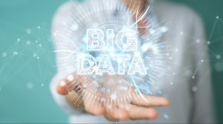 Businesswoman on blurred background using Big Data digital hologram 3D rendering
