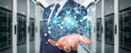 Businessman on blurred background using digital eye surveillance hologram 3D rendering Stock Photo