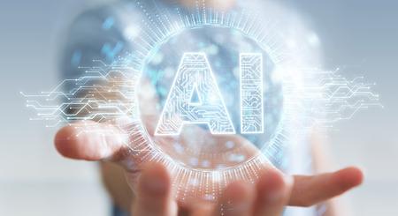 Hombre de negocios en el fondo borroso usando la representación 3d del holograma del icono de la inteligencia artificial digital