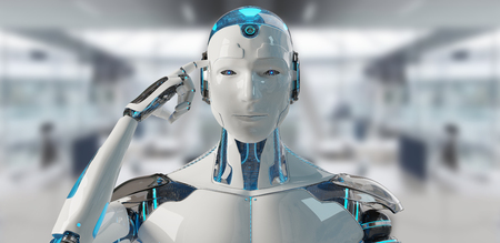 Cyborg mâle blanc pensant et touchant sa tête sur fond de vaisseau spatial rendu 3D