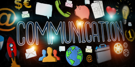 Hand-drawn communication text presentation with depth of field focus