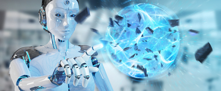 White woman robot on blurred background creating energy ball 3D rendering