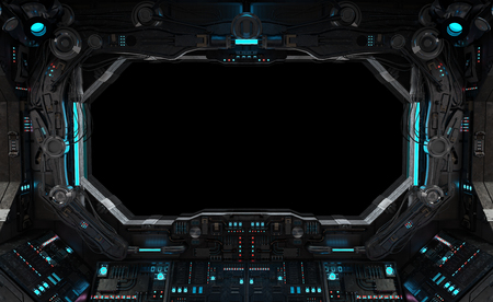 Spaceship grunge interior with view on a isolated black window