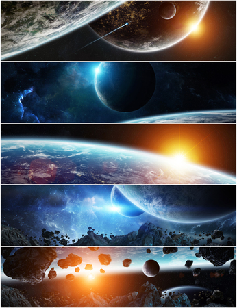Collection of panorama of distant planet system in space 3D rendering