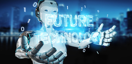 White woman robot on blurred background using future technology text hologram 3D rendering Archivio Fotografico