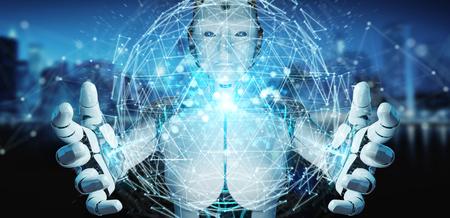 White robot woman on blurred background using digital triangle exploding sphere hologram 3D rendering Foto de archivo