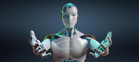 White male cyborg opening his two hands isolated on blue dark background 3D rendering