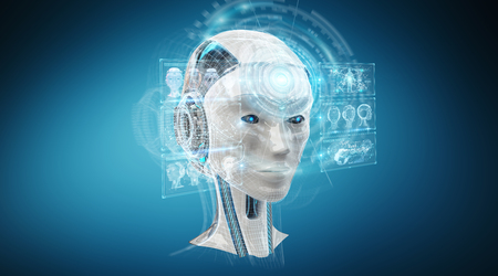 Digital artificial intelligence cyborg interface isolated on blue background 3D rendering Archivio Fotografico