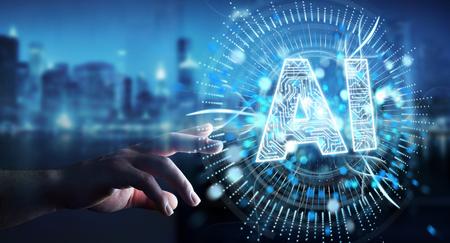 Geschäftsmann auf unscharfem Hintergrund unter Verwendung des 3D-Renderings des Symbols der digitalen künstlichen Intelligenzikone
