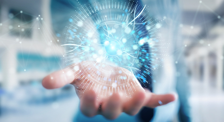 Businessman on blurred background using digital eye surveillance hologram 3D rendering 스톡 콘텐츠