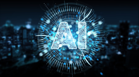 Digital artificial intelligence text hologram on blue city background 3D rendering